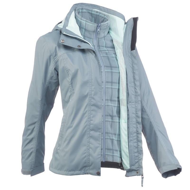 d8c412d07ec6b chaqueta trekking rainwarm 100 3 en 1 mujer gris. Cargando zoom.