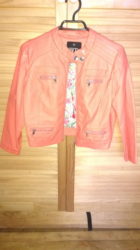 chaqueta wados modelo biker color coral