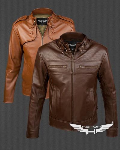 chaquetas cuero heron hombre, corte slim-fit