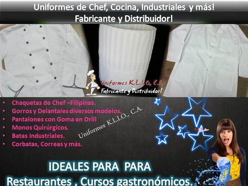 chaquetas de chef, delantales, gorros cocina para unifomes.