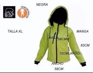 chaquetas softshell mujer black bear verde fluor l, xl