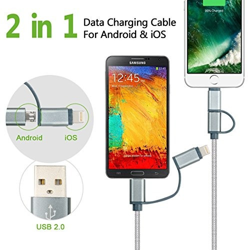 charlemain 2 en 1 lightning y micro usb cable