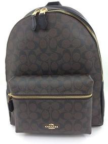 en venta 978cf 035c9 Charlie Backpack Coach Leather Signature Black/brown Nueva
