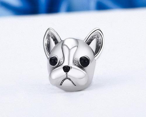 charm dije perro bulldog frances en plata 925 estilo pandora