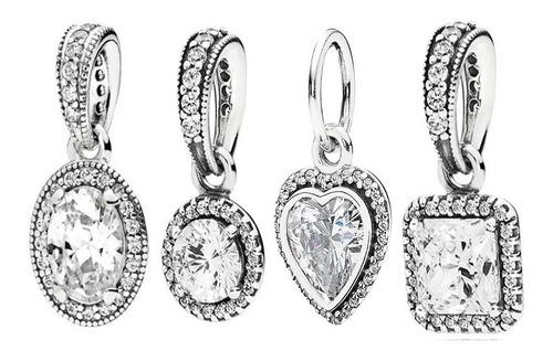 charm pingente em  prata 925 classicos zirconias