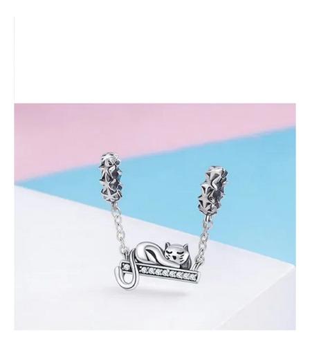 charm plata 925 gato adorable estilo pandora / arany joyas