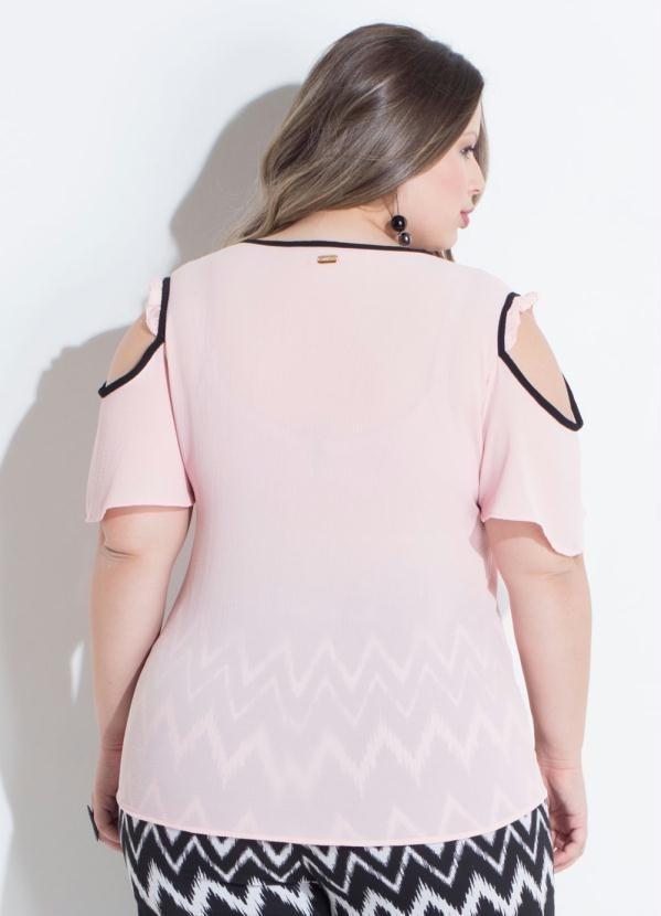 d8e533484 charmosa blusa feminina plus size ombro vazado rosa. Carregando zoom.
