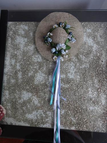 charmoso chapéu enfeite de parede azul feito a mão amor 17cm