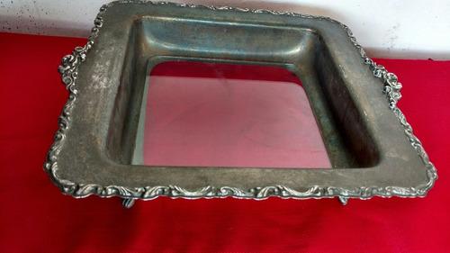 charola antigua metal y vidrio de coleccion 30x33cm