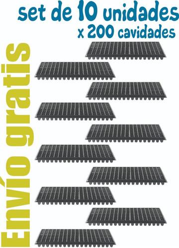 charola de germinacion  de 200 cavidades set x 10 unidades