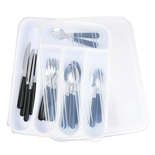 organizador portaobjetos de utensilios para viajes Blanco recipiente con tapa para guardar cubiertos organizador de cajones de pl/ástico para cuberter/ía Zilpoo Bandeja para cubiertos con tapa