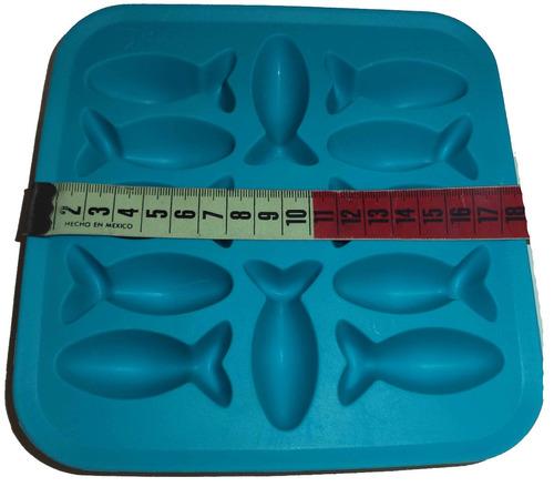 charola de silicon para hielo forma de pez