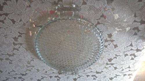 charola en vidrio antigua