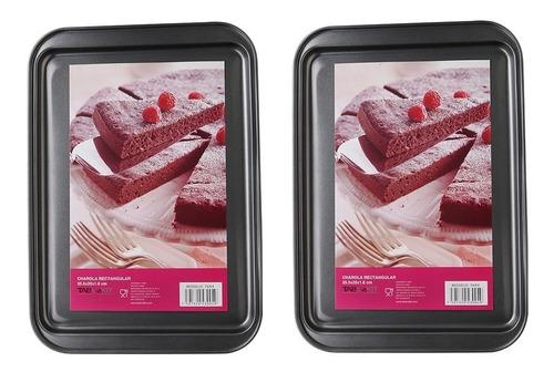 charola rectangular para galletas con anti adherente 2 pz