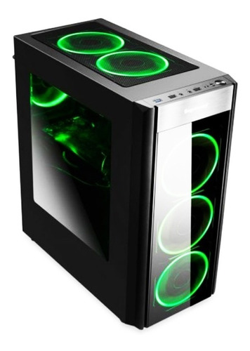 chasis / case / torre segotep atx winder x3 + 3 fan led azul