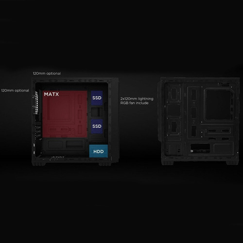 chasis / case / torre segotep halo 6 mini black + 3 fan led