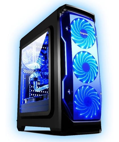 chasis / case / torre segotep halo atx gamer + 3 fan led