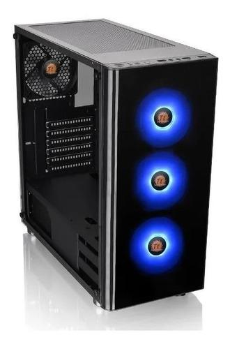 chasis thermaltake v200 tg + 3 fans rgb  fuente 600w 80 plus