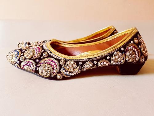 chatitas zapatos  sandalia balerina  hindu bordadas india