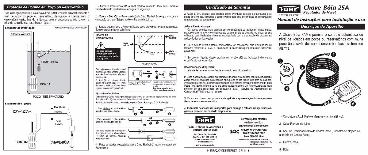 Chave boia regulador de n vel 25a 250v fame boia eletrica for Regulador de nivel piscina