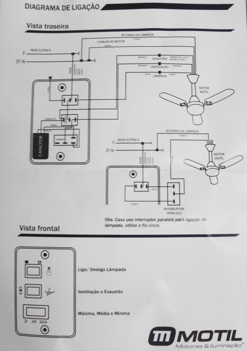Chave Capacitativa P Ventilador De Teto 3 Velocidades