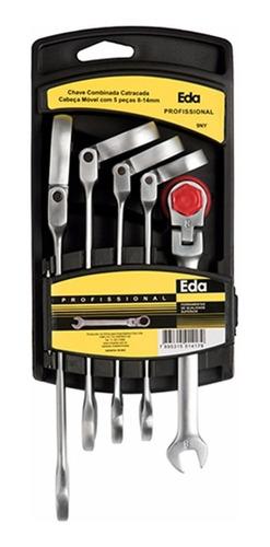 chave combinada catracada cabeça articulada 5 peças 9ny eda