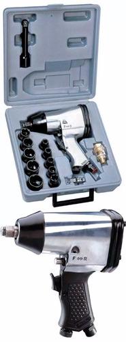 chave de impacto parafusadeira pneumática 1/2 kit17pc
