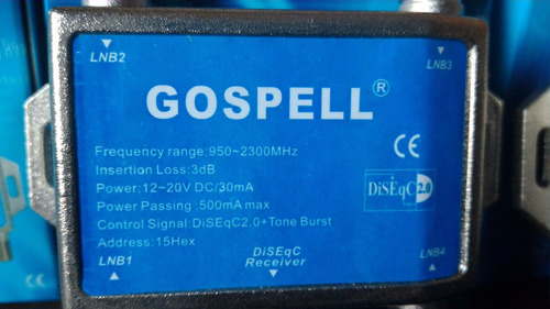 chave diseq 4x1 modelo gs-4120s marca gospell 950-2300mhz