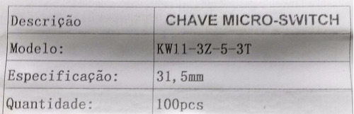 chave micro-switch c/haste 31,5 mm (kw11-3z-3-3t) 5a *10 pçs