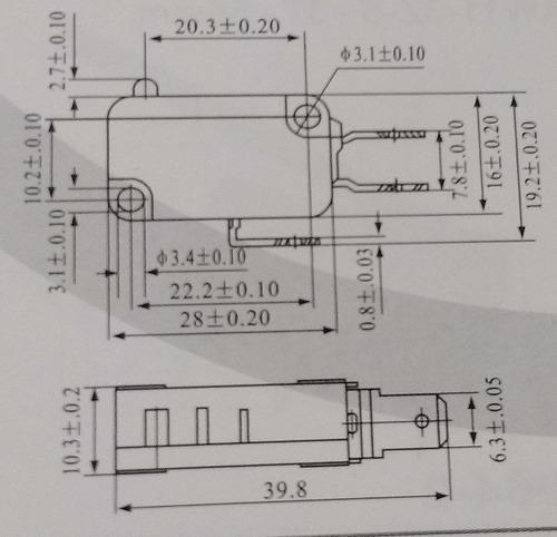 chave micro switch para micro ondas terminal largo