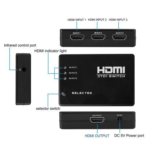 chave seletora switch hdmi 3 ent 1 saída e controle barato