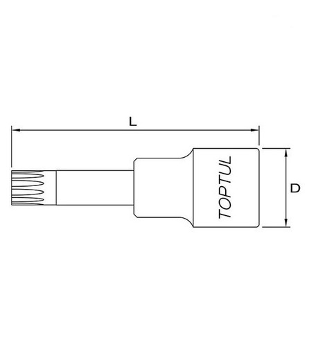 chave soquete multidentada longa m10 - toptul