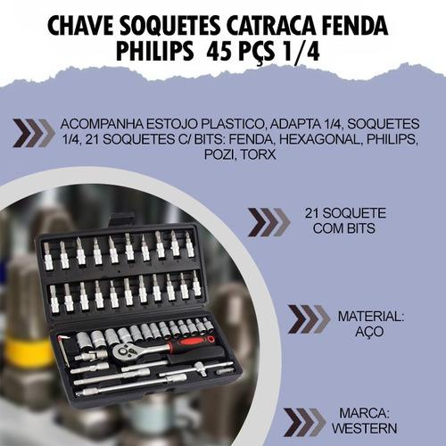 chave soquetes catraca fenda philips 45pçs 1/4 pratica