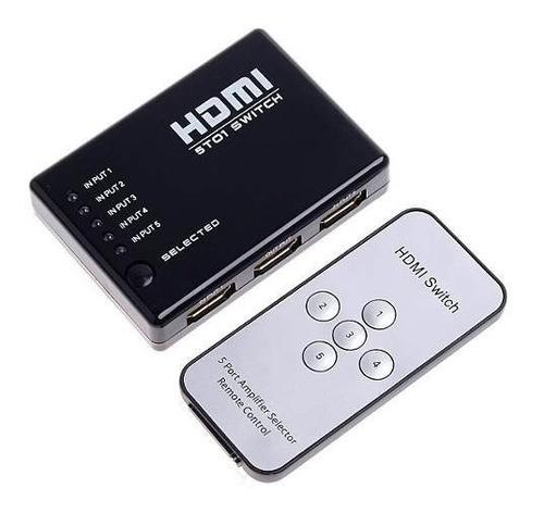 chaveador hub switch hdmi 5x1 c/ controle remoto ótimo