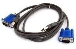chaveador kvm usb switch 4 portas vga/ + kit 4 cabos kvm usb