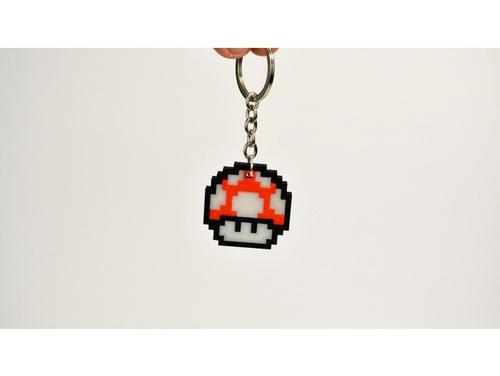 chaveiro 8 bits cogumelo mario pixel art