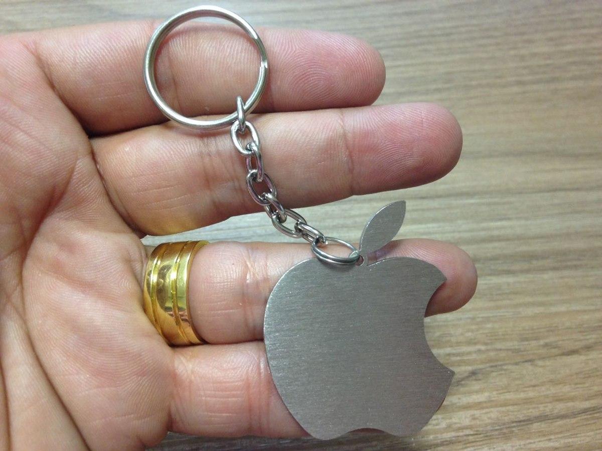 chaveiro apple aço inox escovado personalizado. Carregando zoom. 7a5d0aa7d9e03