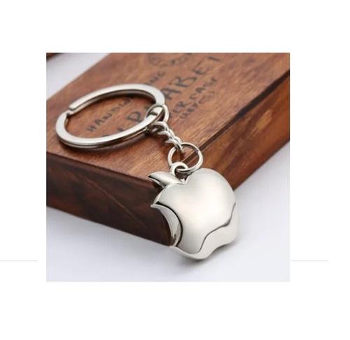chaveiro apple metalico da maça aço inoxidável presente