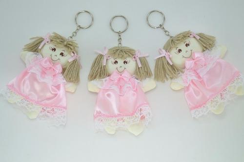 chaveiro boneca de pano cetim rosa 10 peças lembrancinha