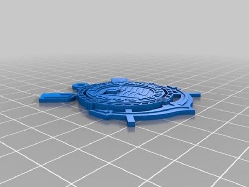 chaveiro com brasão de time - impressão 3d pla branco