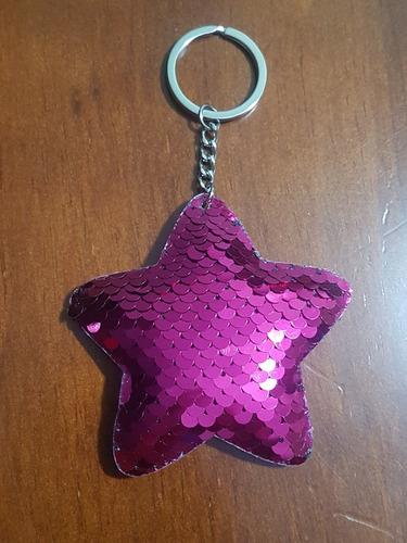 chaveiro feminino estrela rosa lantejoula duas cores lindo