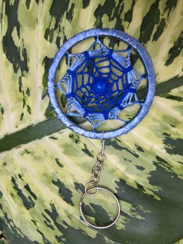 chaveiro filtro dos sonhos croche mandala colorida azul