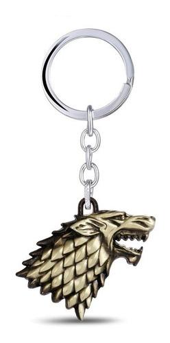 chaveiro game of thrones winter is coming stark dourado lobo