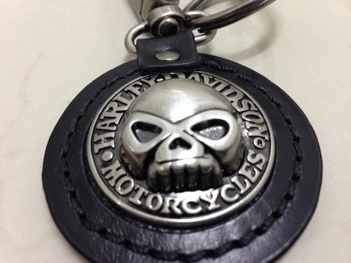 chaveiro harley davidson skull couro metal limited edition