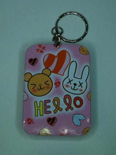 chaveiro latinha retangular 1 unidade rosa/urso  015
