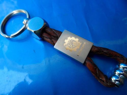 chaveiro logo de profissão economia em aço e couro