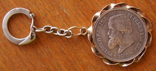 chaveiro moeda 2000 reis 1888 em prata e ouro