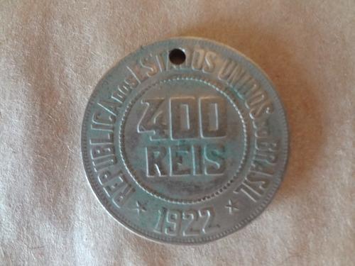 chaveiro moeda furada de 400 reis de 1922
