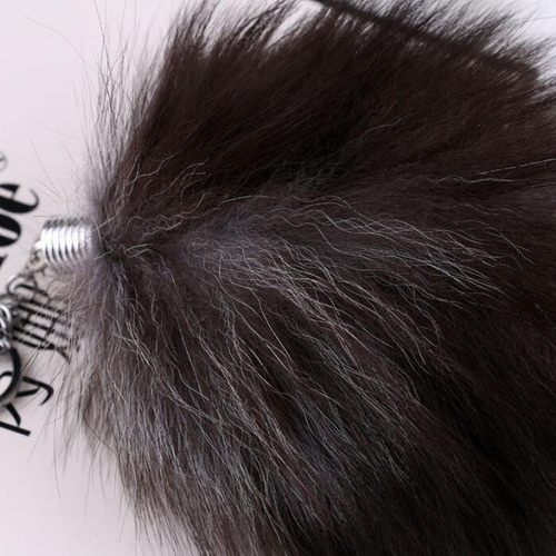 chaveiro rabo raposa marrom 25cm cosplay petplay super macio