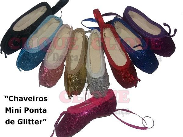 86d98a7594 Chaveiro Sapatilha Mini Ponta Glitter Ballet - R  7